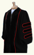 Deluxe Doctoral Gown is made with black Pilgrim fabric with black deluxe velvet.