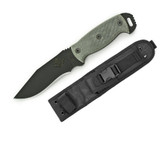 Ontario Night Stalker 4, Black Micarta, Plain 9430BM