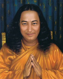 Paramhansa Yogananda Photo - Pronam on Gold Chair 8x10