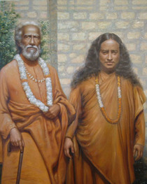 This uplifting picture displays Paramhansa Yogananda and Swami Sri Yukteswar standing in front of a brick wall.