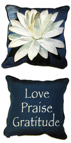 White Lotus/Love Praise Gratitude Pillow