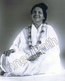 Anandamayi Ma Photo with Garland - B&W 8x10
