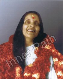Anandamayi Ma Photo with Garland and Bindi - Color 8x10