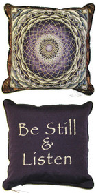 Amethyst Mandala/Be Still & Listen Pillow