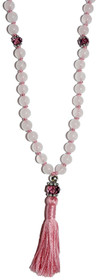 Kriya Mala - Rose Quartz with Faceted Amethyst Fire-Polished Glass Counters
