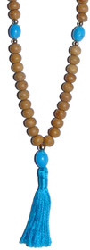 Kriya Mala - Sandalwood with Turquoise Howlite Counters