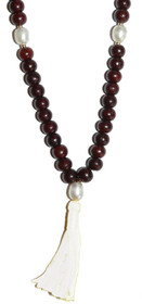 Kriya Mala - Rosewood with Pearl Counters and White Tassel