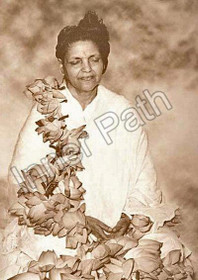 Anandamayi Ma Photo - Garlanded with Lotus - Sepia 5x7