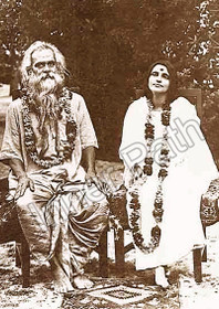 Anandamayi Ma Photo - With Bholanath Sitting - Sepia 5x7