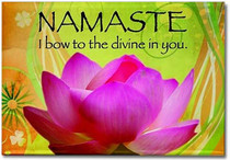 """Namaste - I bow to the divine in you.""  Adorn the refrigerator and filing cabinets with our most celebrated designs!These magnets offer daily sustenance in the form of inspiration and guidance.  These magnets are created by Sarah Brink.  Dimensions: 3"" x 2"""