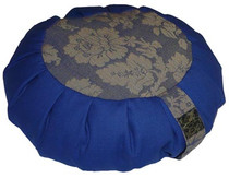 Zafu - Blue Cotton with Blue/Gold Brocade (Buckwheat)