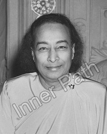 Paramhansa Yogananda Photo, Last Smile, Cropped, B&W, 8x10