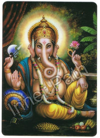 "Ganesha Picture - Ganesha, God of Good Fortune - 4"" Magnet"