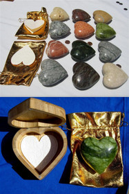 "Heart Stone - 5"" with wooden case"