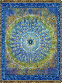 Peacock Mandala Tapestry Throw