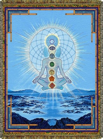 Blue Cosmo Chakra Tapestry Throw