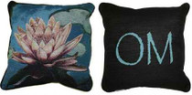 Lotus on Green Water/Om Pillow