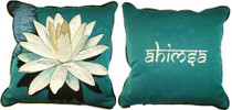 White Lotus on Turquoise Water/Ahimsa Pillow