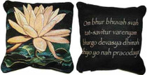 Peach Lotus/Gayatri Mantra Pillow