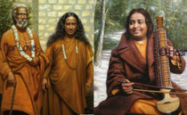 Paramhansa Yogananda with Swami Sri Yukteshwar Art Card - 8 x 10