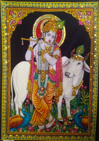 Krishna With Flute Embellished Tapestry