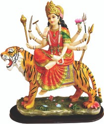 Statue - Durga on Tiger - Large