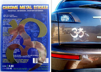Aum Symbol 4 - Chrome Metal Sticker