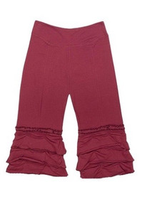 Organic Cotton Ruffle Yoga Pants - Wine