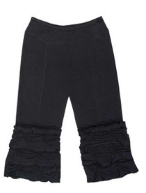 Organic Cotton Ruffle Yoga Pants - Black