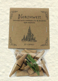 Northwest Incense Cones with Apophyllite and Selenite Gem Essences (25 Cones)