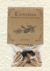 Evergreen Incense Cones with Moldavite Gem Essence (25 Cones)