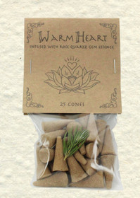 Warm Heart Incense Cones with Rose Quartz Gem Essence (25 Cones)