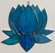Lotus - Blue Stained Glass - 6""