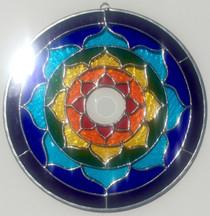 "Rainbow Stained Glass Lotus Mandala - 10"""