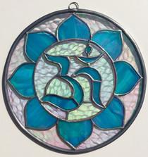 "Om Mandala - Iridescent Blue Stained Glass - 8"""