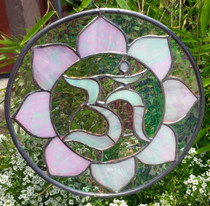 Pearl White Stained Glass Om Mandala - 8""