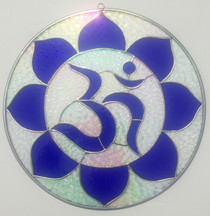 """Blue Stained Glass Aum - 15"""""""