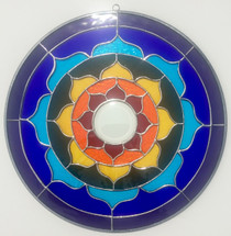 Rainbow Stained Glass Lotus Mandala - 15""
