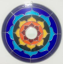 "Rainbow Stained Glass Lotus Mandala - 15"""