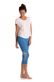 Peacock Capri Leggings - Azul Blue