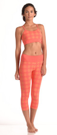 Sri Yantra Capri Leggings - Coral