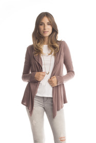 Tissue Knit Convertible Cardigan - Earth Brown