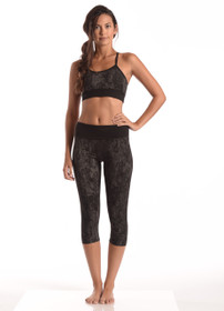 Snake Print Capri Leggings - Black