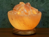 Salt Bowl Lamp with Hardwood Base