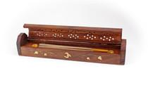Wood Incense Storage Box Om