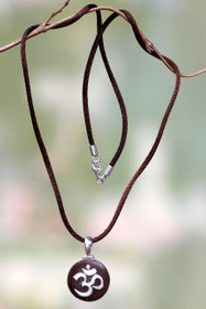 Silver 925 and Coconut Shell Necklace, 'Om Mantra'