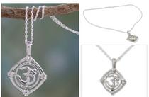 India Mantra Silver Necklace, 'Mantra Prayer'