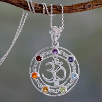 6.3 Cts Multi-gemstone Medallion Necklace, 'Om Magnificence'