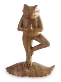 Handcrafted Wood Sculpture, 'Tree Pose Yoga Frog'