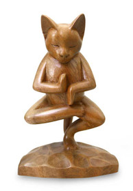 Handcrafted Indonesian Wood Cat Sculpture, 'Vrkasana Yoga Kitty'